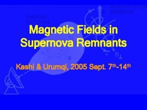 Magnetic Fields in Supernova Remnants Kashi Urumqi 2005