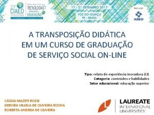 A TRANSPOSIO DIDTICA EM UM CURSO DE GRADUAO