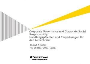 Corporate Governance und Corporate Social Responsibility Handlungspflichten und