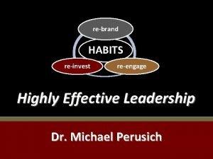 rebrand HABITS reinvest reengage Highly Effective Leadership Dr