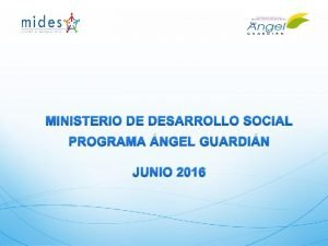 MINISTERIO DE DESARROLLO SOCIAL PROGRAMA NGEL GUARDIN JUNIO