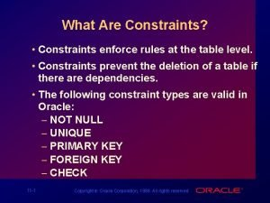 What Are Constraints Constraints enforce rules at the
