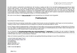 DEGI Deutsche Gesellschaft fr Immobilienfonds Die DEGI Deutsche