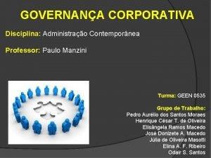 GOVERNANA CORPORATIVA Disciplina Administrao Contempornea Professor Paulo Manzini
