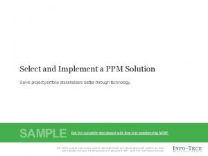 Select and Implement a PPM Solution Serve project
