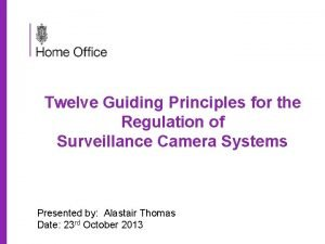 Twelve Guiding Principles for the Regulation of Surveillance