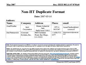 May 2007 doc IEEE 802 11 070701 r