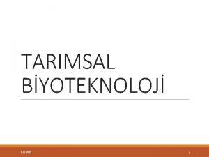 TARIMSAL BYOTEKNOLOJ 5 12 2020 1 MKROBYAL BYOTEKNOLOJ