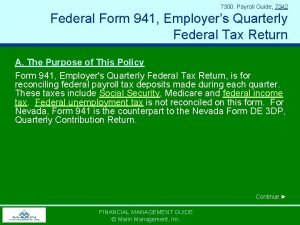 7300 Payroll Guide 7342 Federal Form 941 Employers