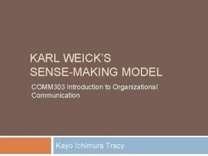 KARL WEICKS SENSEMAKING MODEL COMM 303 Introduction to