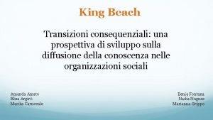 King Beach Transizioni consequenziali una prospettiva di sviluppo