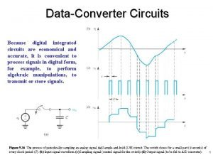 DataConverter Circuits Because digital integrated circuits are economical