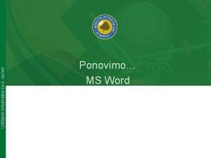 Udbenik informatike za 6 razred Ponovimo MS Word