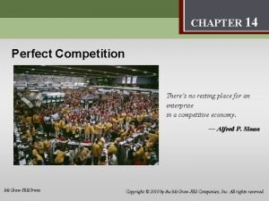 Perfect Competition 14 CHAPTER 14 Perfect Competition Theres