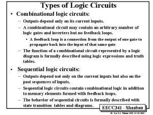 Types of Logic Circuits Combinational logic circuits Outputs