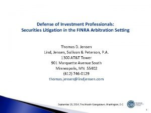 Defense of Investment Professionals Securities Litigation in the