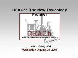 REACh The New Toxicology Frontier REACh Registration Evaluation