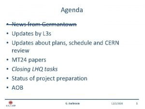 Agenda News from Germantown Updates by L 3