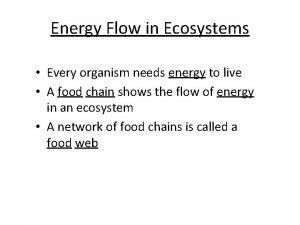 Energy Flow in Ecosystems Every organism needs energy