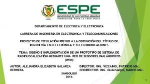 DEPARTAMENTO DE ELECTRICA Y ELECTRONICA CARRERA DE INGENIERA