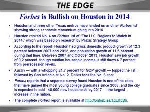 Forbes is Bullish on Houston in 2014 Houston