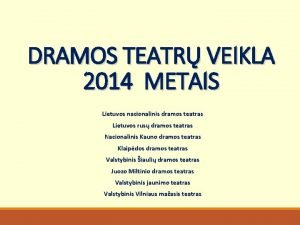 DRAMOS TEATR VEIKLA 2014 METAIS Lietuvos nacionalinis dramos