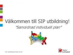 Vlkommen till SIP utbildning Samordnad individuell plan SIP