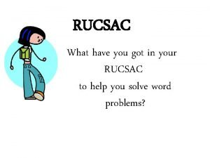 RUCSAC What have you got in your RUCSAC