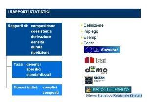 I RAPPORTI STATISTICI Rapporti di composizione coesistenza derivazione