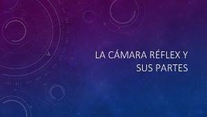 LA CMARA RFLEX Y SUS PARTES LA CMARA