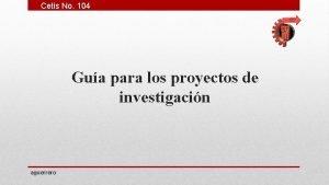 Cetis No 104 Gua para los proyectos de