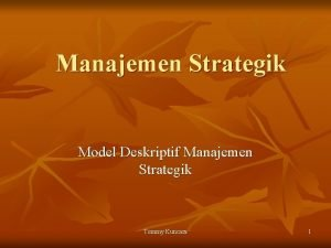 Manajemen Strategik Model Deskriptif Manajemen Strategik Tommy Kuncara