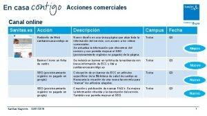 Acciones comerciales Canal online Sanitas es Accin Descripcin