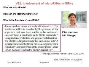 V 22 involvement of micro RNAs in GRNs