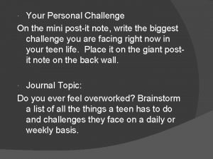 Your Personal Challenge On the mini postit note