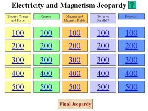 Electricity and Magnetism Jeopardy Electric Charge and Force