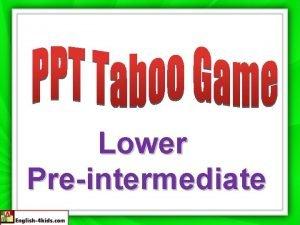 Lower Preintermediate Word Taboo Words Doctor Hospital Hairdresser