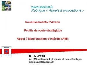 www ademe fr Rubrique Appels propositions Investissements dAvenir