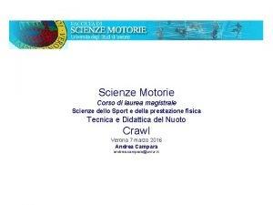 Scienze Motorie Corso di laurea magistrale Scienze dello