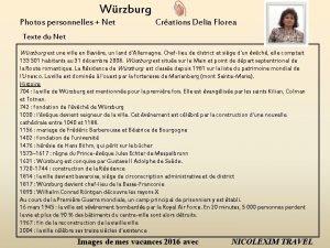 Wrzburg Photos personnelles Net Crations Delia Florea Texte