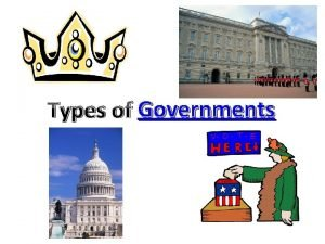 Types of Governments Dictatorship Who governs One person