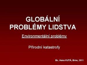 GLOBLN PROBLMY LIDSTVA Environmentln problmy Prodn katastrofy Bc