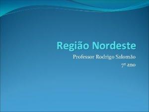 Regio Nordeste Professor Rodrigo Salomo 7 ano Regio