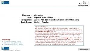 Seite 1 Bearbeitet von Siegbert Rudolph bungsart Titel