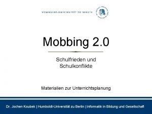 Mobbing 2 0 Schulfrieden und Schulkonflikte Materialien zur