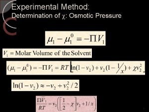 Experimental Method Determination of Osmotic Pressure Polymer Solubility