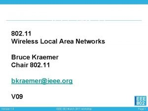 IEEE 802 11 Wireless Local Area Networks Bruce