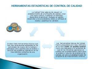 HERRAMIENTAS ESTADISTICAS DE CONTROL DE CALIDAD La Calidad