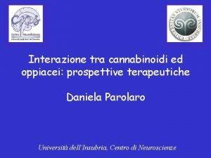 Interazione tra cannabinoidi ed oppiacei prospettive terapeutiche Daniela