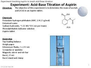Experiment involving aspirin to teach acidbase titration Experiment
